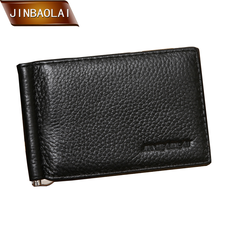 2015 New Arrival Brand Men Genuine Leather money clip Wallets fashion slim brand