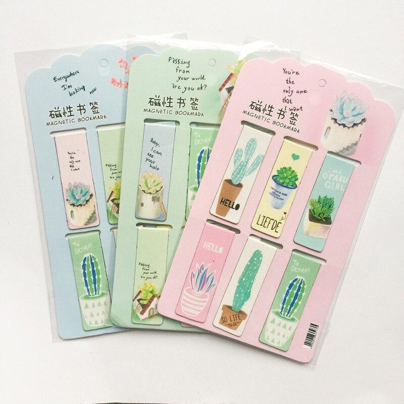 Magnetic Cactus Bookmark Novelty Cactus Magnet Bookmarks For Kids 6pcs/set