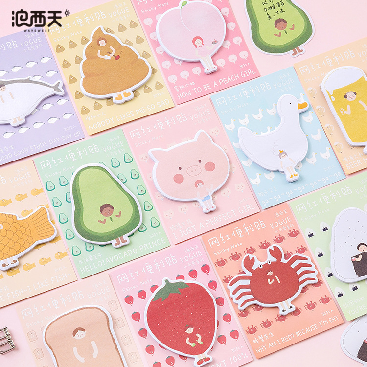 30 Sheets/pad Animals Cute Sticky Notes Stationery Kawaii Stickers Scrapbooking Papeleria Stickers Planner Memo Pads Planner