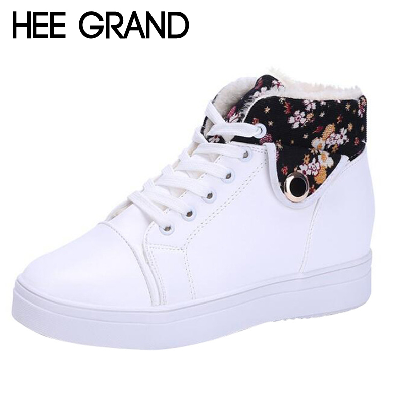HEE GRAND Women Casual Shoes Winter Warm Shoes Women Lace-up Snow Boots PU Leather Flat with Women Shoes with Short Plush XWB126 pu leather martins women boots snow boots military girls for casual walking shoes winter femme bota 2017 7687