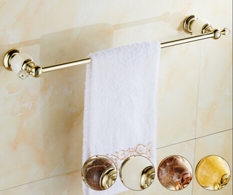 Wholesale And Retail Golden Jade Bathroom Towel Bar Single Towel Hanger Solid Brass Towel Rail wholesale and retail free shipping brass bathroom bath towel ring holder golden color