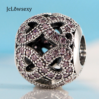 2018 New Authentic S925 Sterling Silver Bead Pink CZ Crystal Charm Fit Original Pandora Bracelets DIY Charms Jewelry Marking