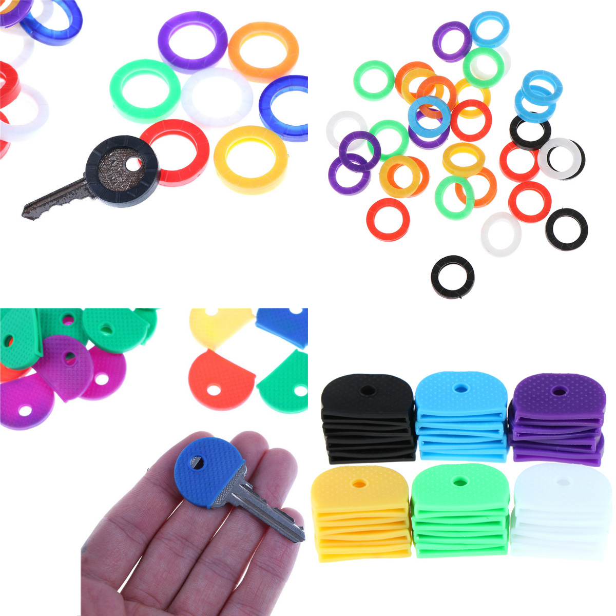 24/32Pcs Colorful Key Top Covers Head/Caps/Tags/ID Markers Mixed Toppers Keyring Accessories