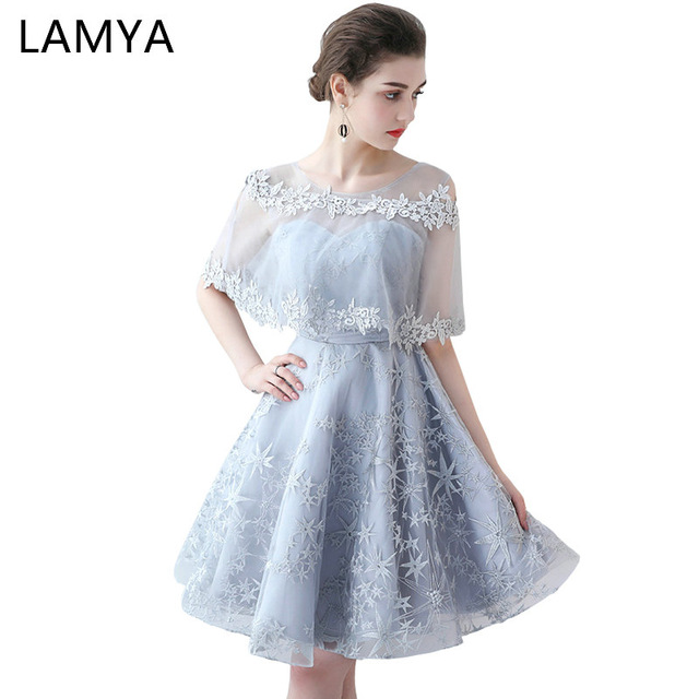 LAMYA Short Simple Embroidery Prom Dress Princess Banquet Evening Party  Dress 2018 Sexy Special Occasion Gowns 8b88923b898e