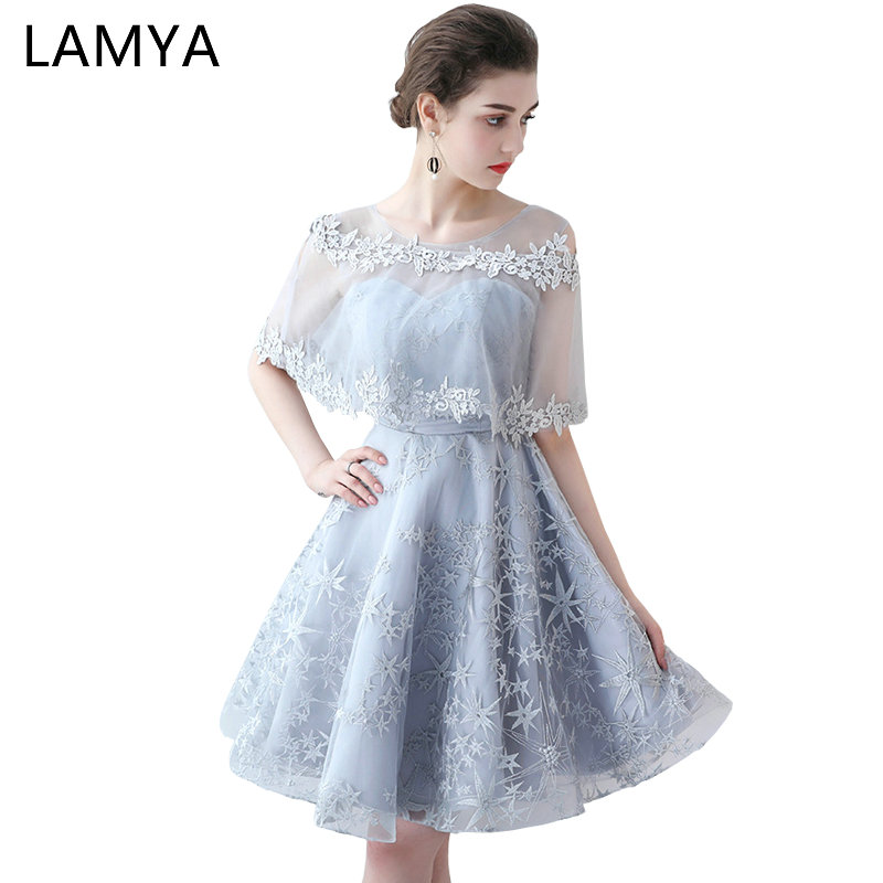 LAMYA Short Simple Embroidery Prom Dress Princess Banquet Evening Party Dress 2019 Sexy Special Occasion Gowns in Prom Dresses from Weddings Events