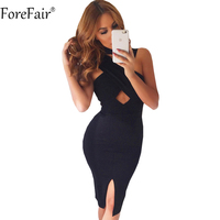 ForeFair Black Pink Sexy Split Bandage Bodycon Party Dresses 2016 Women Autumn Turtleneck Back Zipper Midi
