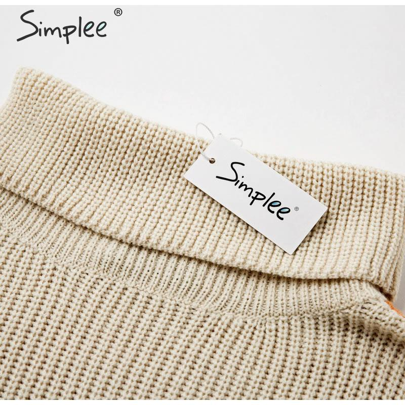 Simplee Patchwork turtleneck knitted sweaters female Casual long sleeve korean pullover jumper Women streetwear ladies sweater 15