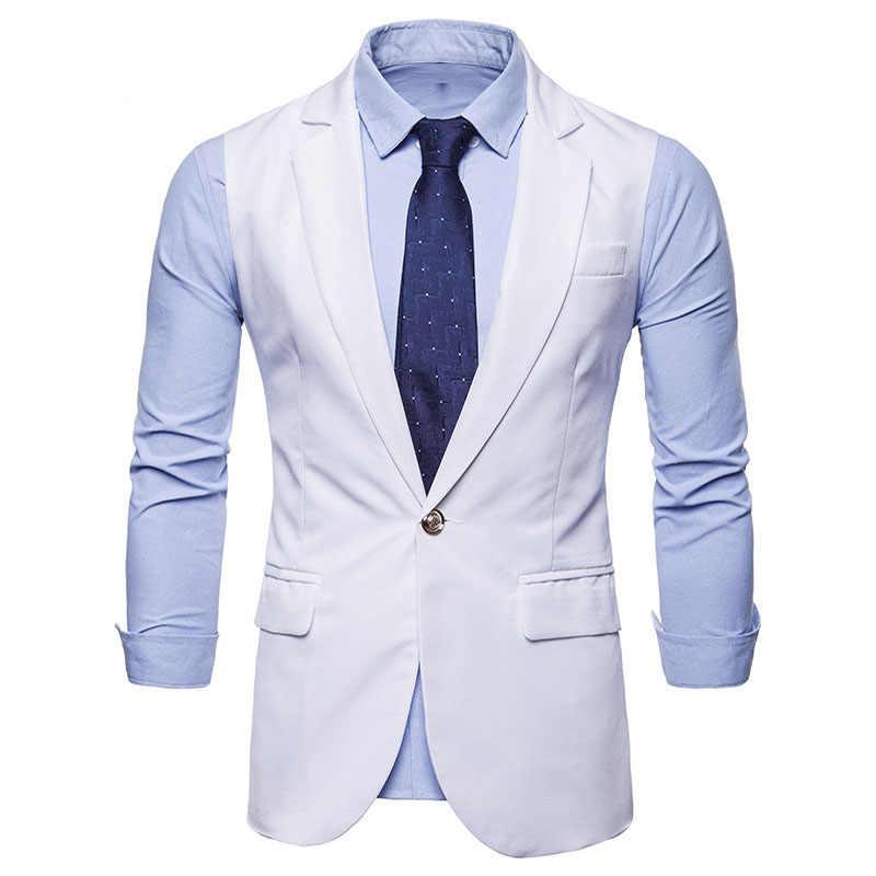 رجل الأبيض التلبيب واحدة الصدر دعوى سترة 2019 العلامة التجارية جديد سليم صالح صدرية سترة الرجال الرسمي الأعمال سترات Chalecos الفقرة hombre