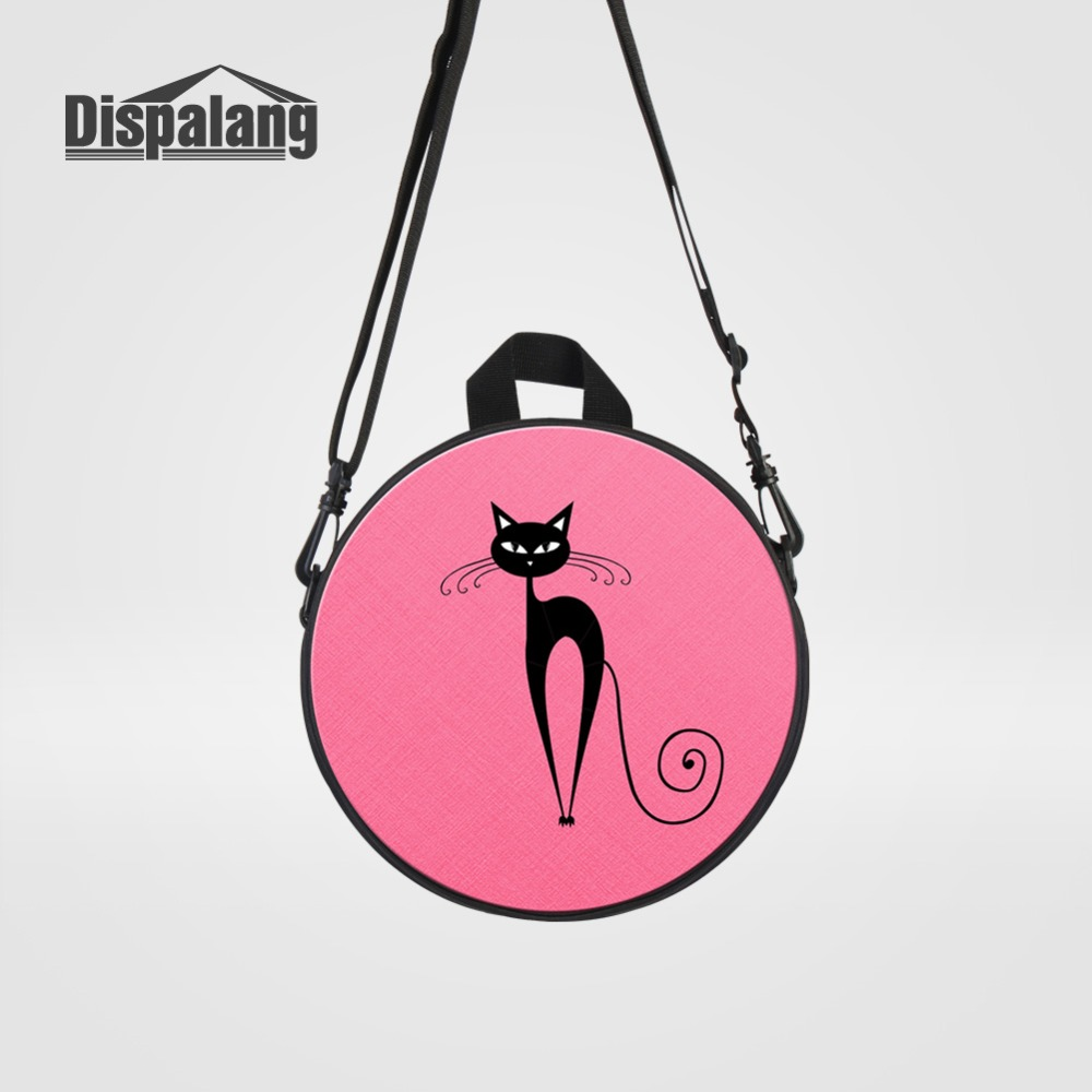 Dispalang Pink Cat Printing Messenger Bag For School Girls Cute Cross Body Bookbags Baby ...