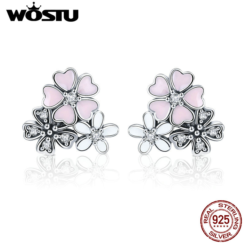 WOSTU Hot Sale 925 Sterling Silver Poetic Cherry Blooms Flowers Stud Earrings for Women Fashion Original Silver Jewelry CQE400