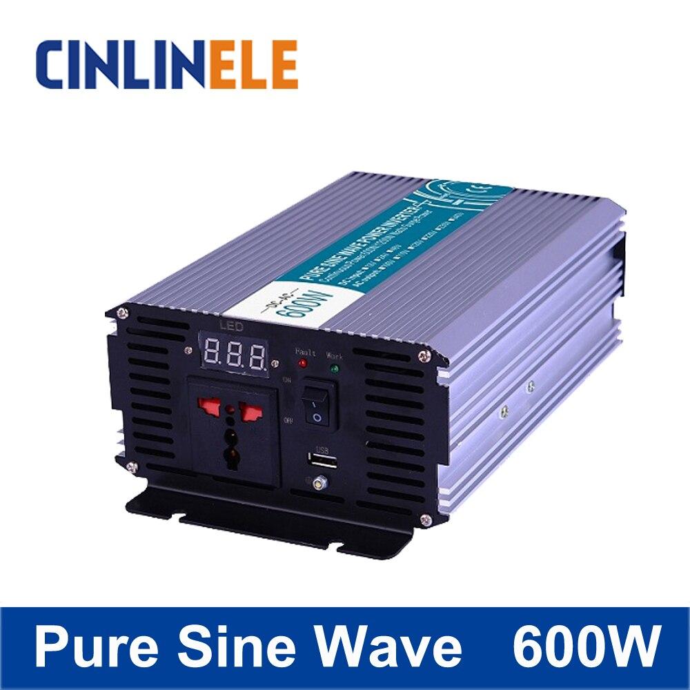 Smart Series Pure Sine Wave Inverter 600W CLP600A DC 12V 24V 48V  to AC 110V 220V 600W Surge Power 1200W