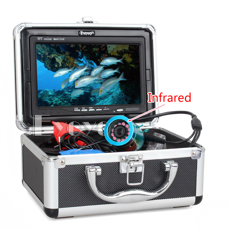 Eyoyo Original 30m Professional Fish Finder Underwater Fishing Video Camera 7 Color Monitor 1000TVL HD CAM 12pc Infrared lights eyoyo original 50m 1000tvl hd cam professional fish finder underwater fishing video recorder dvr 7 w infrared ir led lights