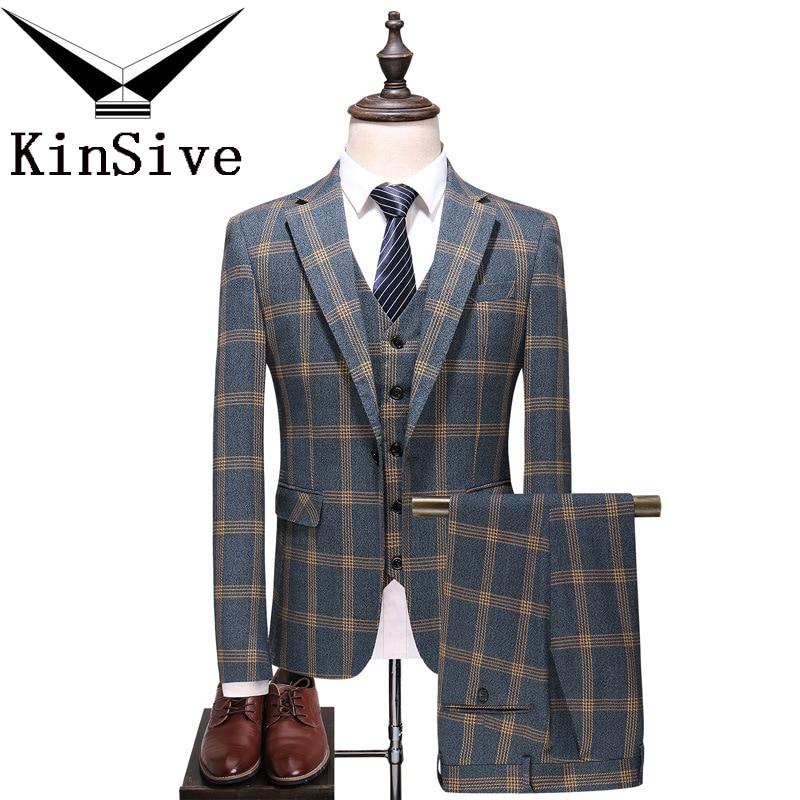 Fashion Plaid Designs Lapel Men Suit Tailor Made Groom Tuxedos Wedding 3 Piece Suits Best Man Blazer (Jacket+Pants+Vest) Custom