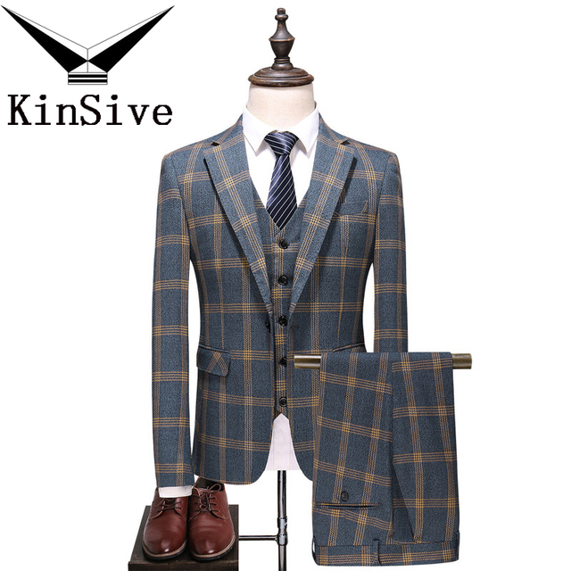Fashion Plaid Designs Lapel Men Suit Tailor Made Groom Tuxedos Wedding 3 Piece Suits Best Man Blazer (Jacket+Pants+Vest) Custom
