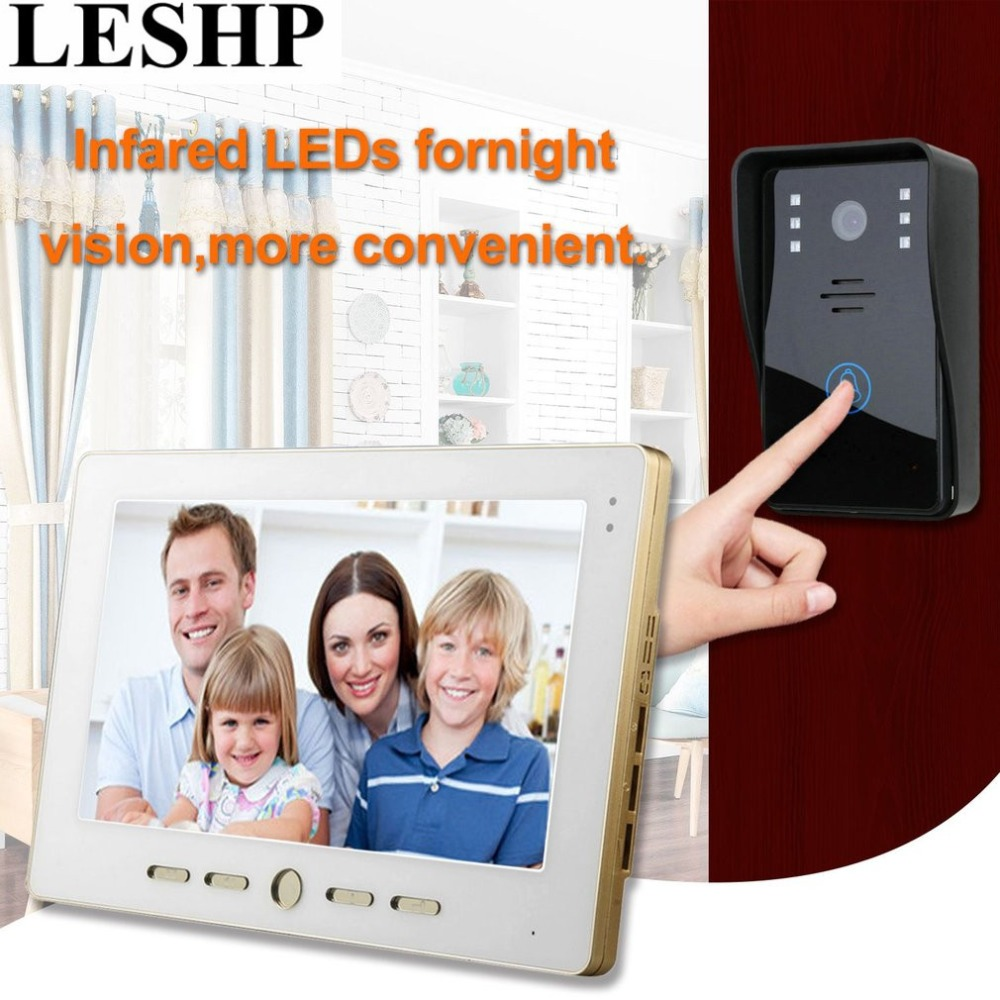 LESHP 10 inch Video Door Phone Intercom Doorbell Touch Button Remote Unlock Night Vision Security CCTV Camera Home Surveillance