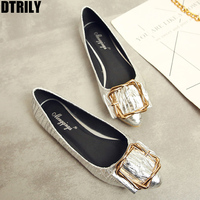 shoes woman flats shoes metal buckle pointed toe loafers ladies slip on slides casual big size zapatos mujer black silver gold