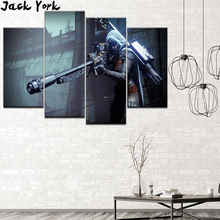 Canvas Painting destiny game fight 4 Pieces Wall Art Modular Wallpapers Poster Print Home Decor free shipping