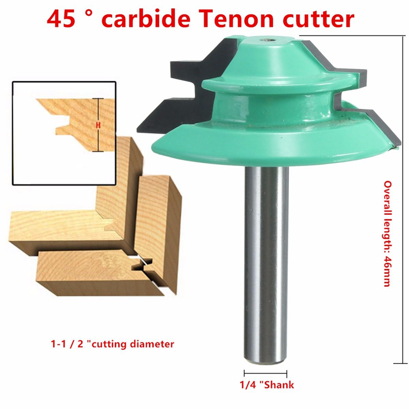 1PC 45 Degree Lock Miter Router Bit 1-1/2 Diameter 1/4 Shank Wood Cutter for Woodworking high grade carbide alloy 1 2 shank 2 1 4 dia bottom cleaning router bit woodworking milling cutter for mdf wood 55mm mayitr