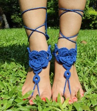 2017 Bohemian Beach Anklet Crochet Rose Barefoot Sandals Beach Pool Wear Sexy Accessories Valentine Gift For Her Toe Ring Anklet