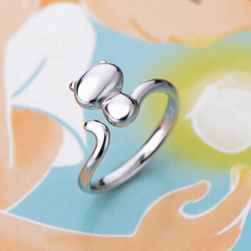 OMHXZJ ขายส่งบุคลิกภาพแฟชั่น OL ผู้หญิงสาวงานแต่งงานของขวัญแมวน่ารักสีขาวเปิด 925 เงินสเตอร์ลิงแหวน RN260