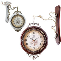 New Arrive Free Shipping European Rural Style Double Face Antique Wooden Wall Clock Mute Creative Retro Clock Home Accessories