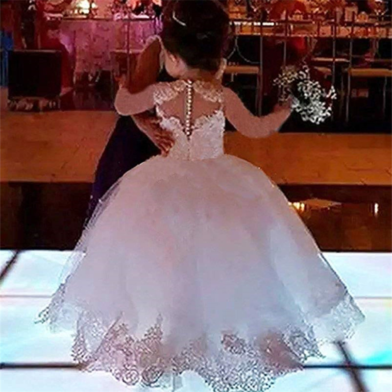 Long Sleeve Ball Gown Princess Flower Girls Dresses Appliques With Beaded Stunning Cute Girls First Communion Dress White