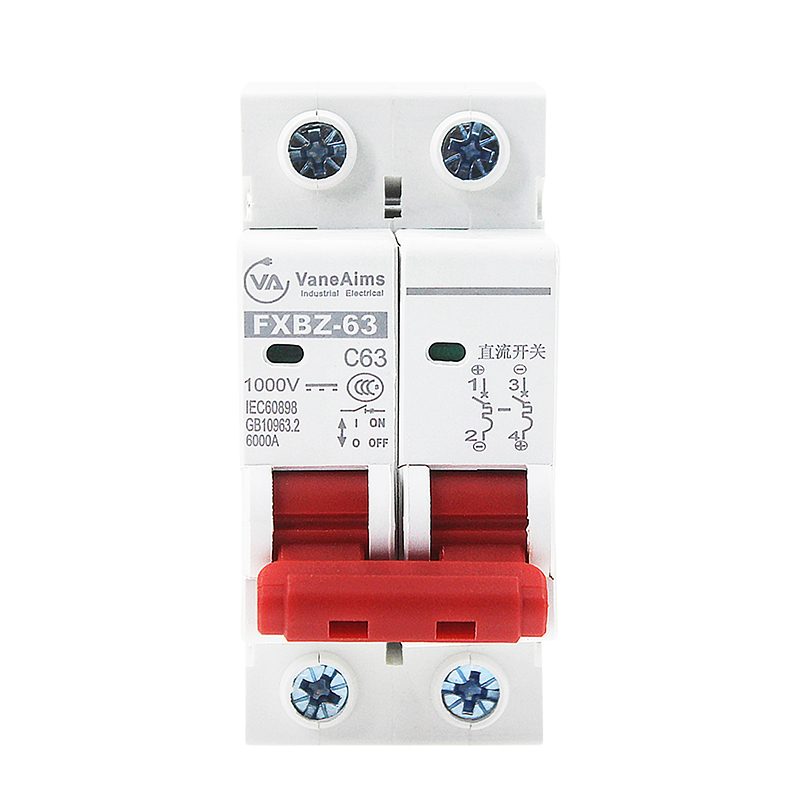 DC Switch Solar Mini Circuit Breaker Overload Protection Switch 6A/10A/16A/20A/25A/32A/40A/50A/63A 2P DC1000V MCB
