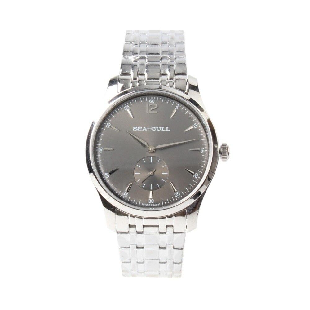 Ultra Dunne 9 MM Seagull Kleine Tweedehands Tentoonstelling Terug Manual Hand Kronkelende Mechanische heren Dress Horloge D816.448 Zwart dial-in Mechanische Horloges van Horloges op  Groep 1