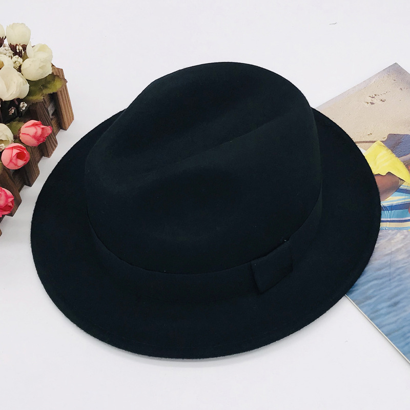 COKK 100 Wool Autumn Winter Fedora Hats For Women Men Ladies Vintage Hat Top Church Hats Vintage British Style Jazz Cap Black in Women 39 s Fedoras from Apparel Accessories