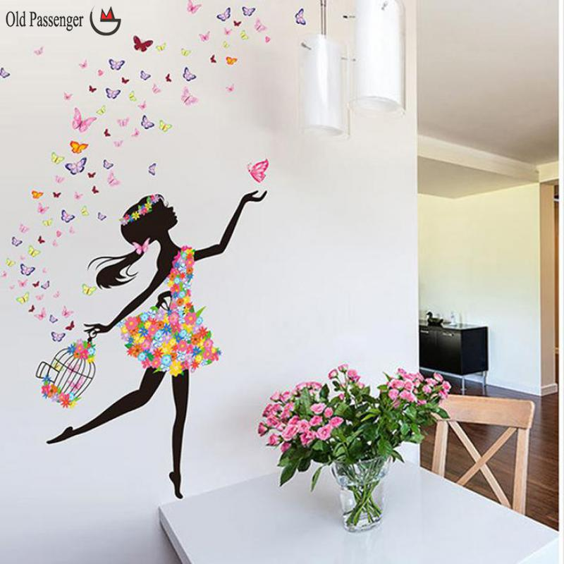 Old passenger personality fairies girl butterfly flowers for Butterfly wall mural stickers