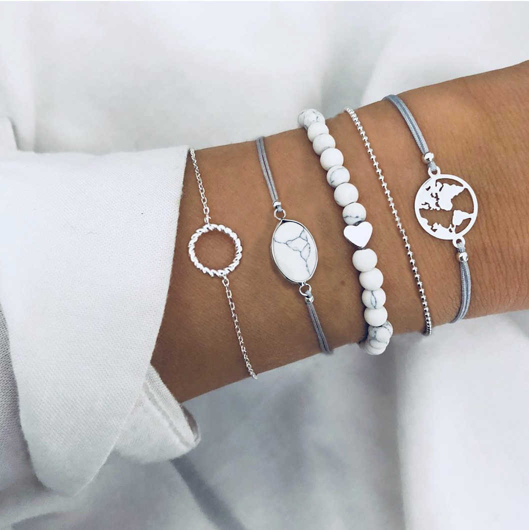 5 Pcs/set Bohemian Handmade Marble Stone Earth Map Round Bracelet Sets Women 2019 New Blue Rope Chain Bracelets Fashion Jewelry