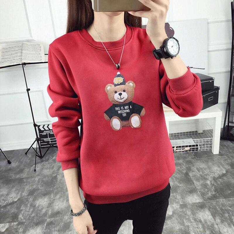 2018 nuevo Otoño e Invierno de las mujeres sudadera estilo coreano lindo  oso impresión estudiante sudadera caliente chándal de terciopelo suéter de  las ... ae72d7e144d1a