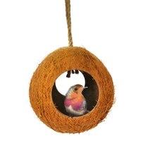 Гнездо для попугая натуральный кокосовый орех дом кормораздатчик Parakeet птицы белка хомяк игрушки питомец порода украшения поставки кулон