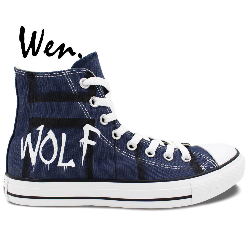 ФОТО Wen Unisex Hand Painted Casual Shoes Custom Design DW Police Box Bad Wolf Doctor Who Men Women's High Top Canvas Shoes