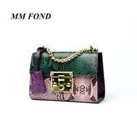 MM FOND Split Leather Women Fashion Paddle Design Lady Shoulder Handbag Chic Python Stylish Girl Cross