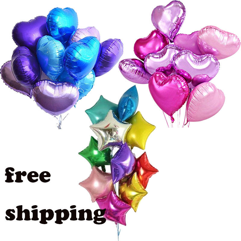 Mtrong Te 12pcs star Heart Globos Metallic Color 18inch Infatable Foil Balloons for Party Wedding Decoration baby shower Balloon