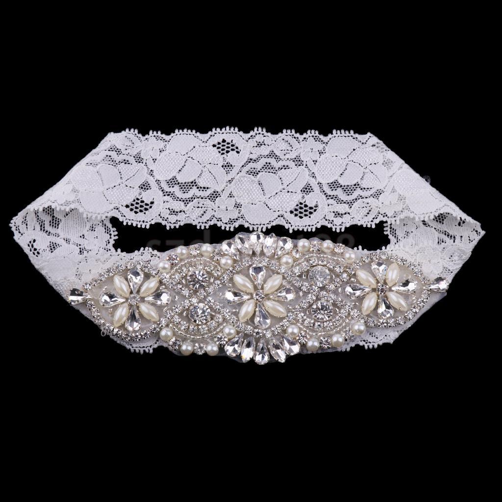 Romantic Wedding Bridal Lace Garter Flower Applique Pearls Rhinestone Garter