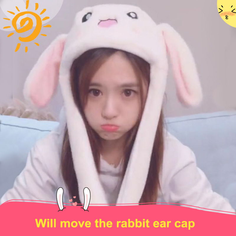Cute Animal Plush Bunny Hat Interesting Moving Up Down Ears Kids Girls Toys Gift S7JN(China)