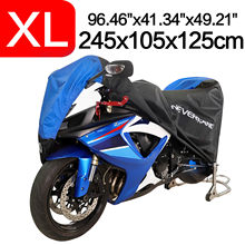 XL 245x105x125 190T Black Blue Design Waterproof Motorcycle Covers Motors Dust Rain Snow UV Protector Cover Indoor Outdoor D45(China)