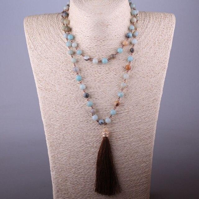 48fedc8c3b70 Envío Gratis azul verde amazonita piedras Rosario cadena anudada largo  borla collar hecho a mano mujeres