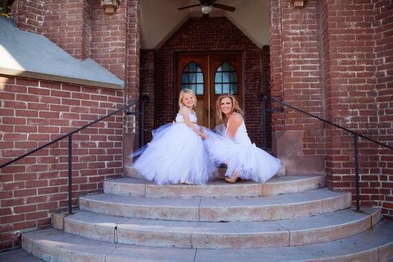 Maman filles robe pour la fête de mariage soirée mère fille robes bébé filles princesse robe famille correspondant tenues jupe Tutu - 4