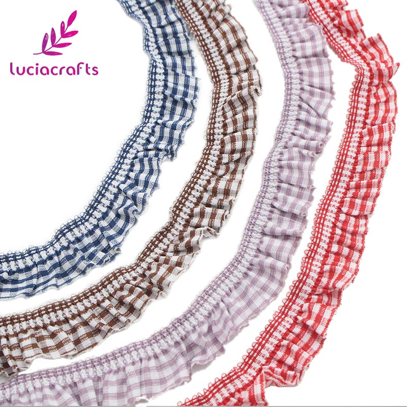 Lucia crafts 20mm Elastic Plaid Printed Lace Trim Ribbons For Garment Headdress DIY Sewing Accessories 4y/lot 17011819(HS4y)
