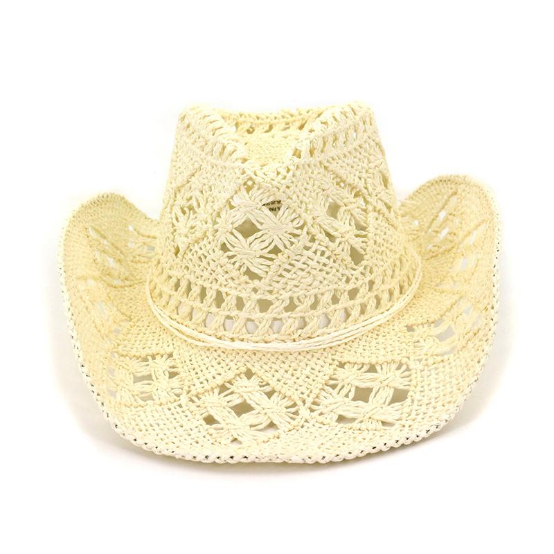 Ahagogo Fashion Unisex Wide Brim Straw Cap Western Cowboy Hat for Gentleman Beach Sun Hat UPF50+