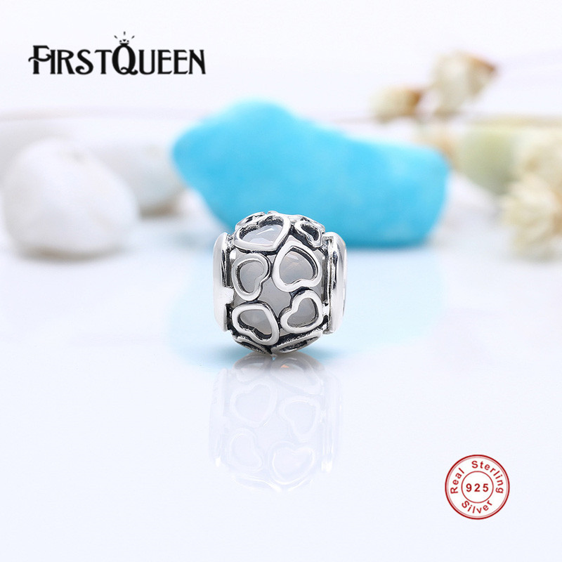 FirstQueen Real 925 Silver Opalescent Encased in Love Charm Beads Fit Original Bracelets Pulseira Encantos.100% Fine Jewlery E