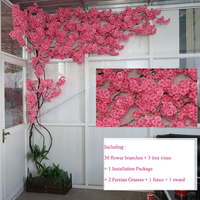 artificial cherry blossom tree Wall interior decoration background cherry blossom cane Fake flowers Wall Party Decor