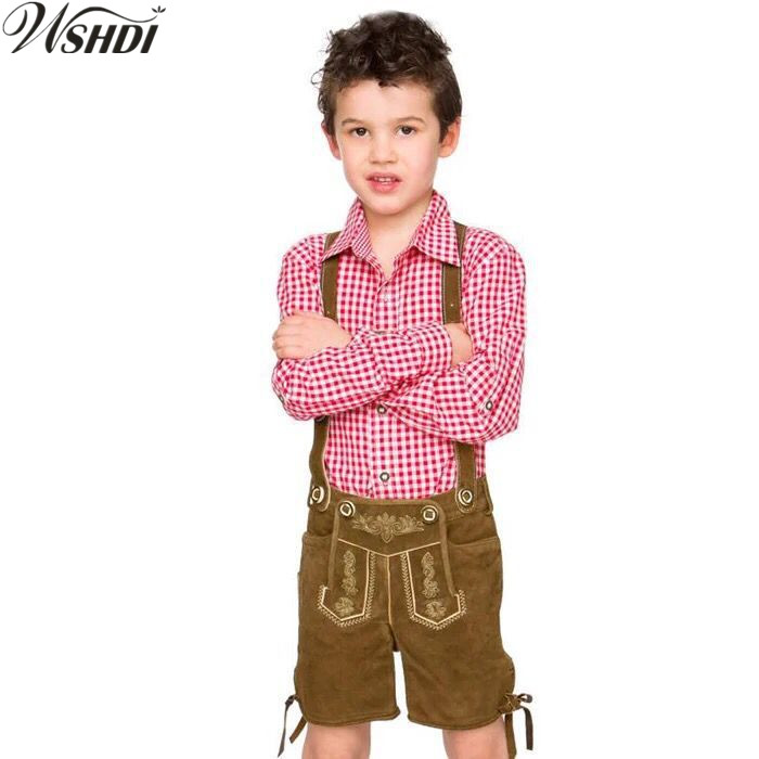 Children Boy Lederhosen Oktoberfest Costume German Bavarian Fantasia Party Uniform For Kid Halloween Costumes Size S-XXL
