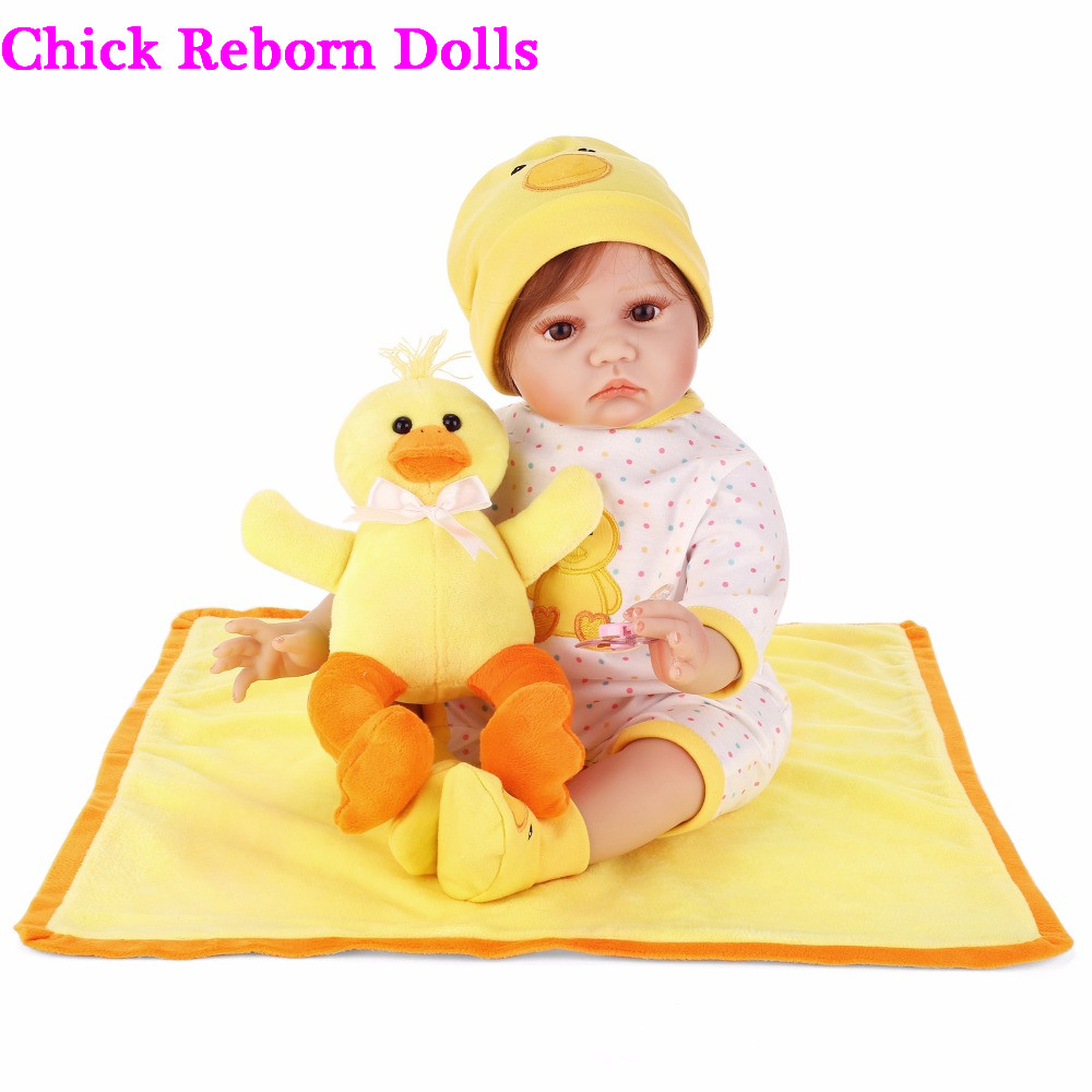 """Reborn dolls for sale 22""""55cm silicone reborn baby doll real bebes reborn with yellow duck children bedtime toy birthday gift"""