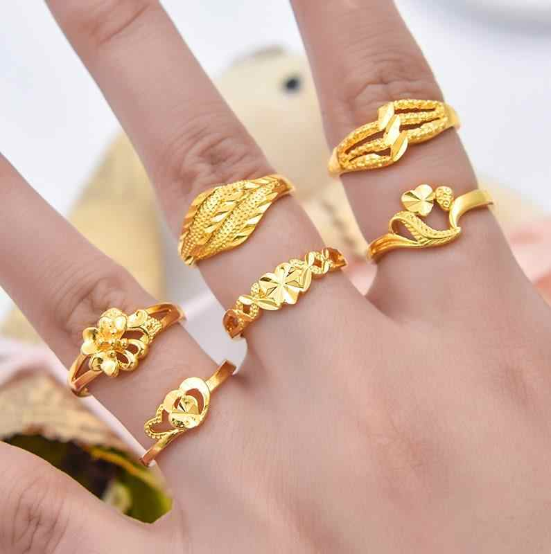 Alloy Rings Steel Rose Gold Anti-allergy Smooth Simple Wedding Couples Bijouterie for Girls Gift