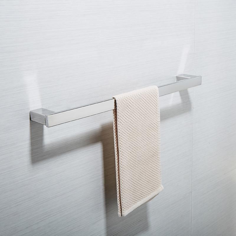 AUSWIND modern SUS304 stainless steel single bathroom bar polish silver towel hanger wall mount towel rack, 60cm 304 stainless steel bathroom towel rack bar hangers more
