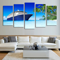 5 With Modern Frameless Paintings Ocean Sailing Home Decoration Wall Art Blue Sky Canvas Print Hd